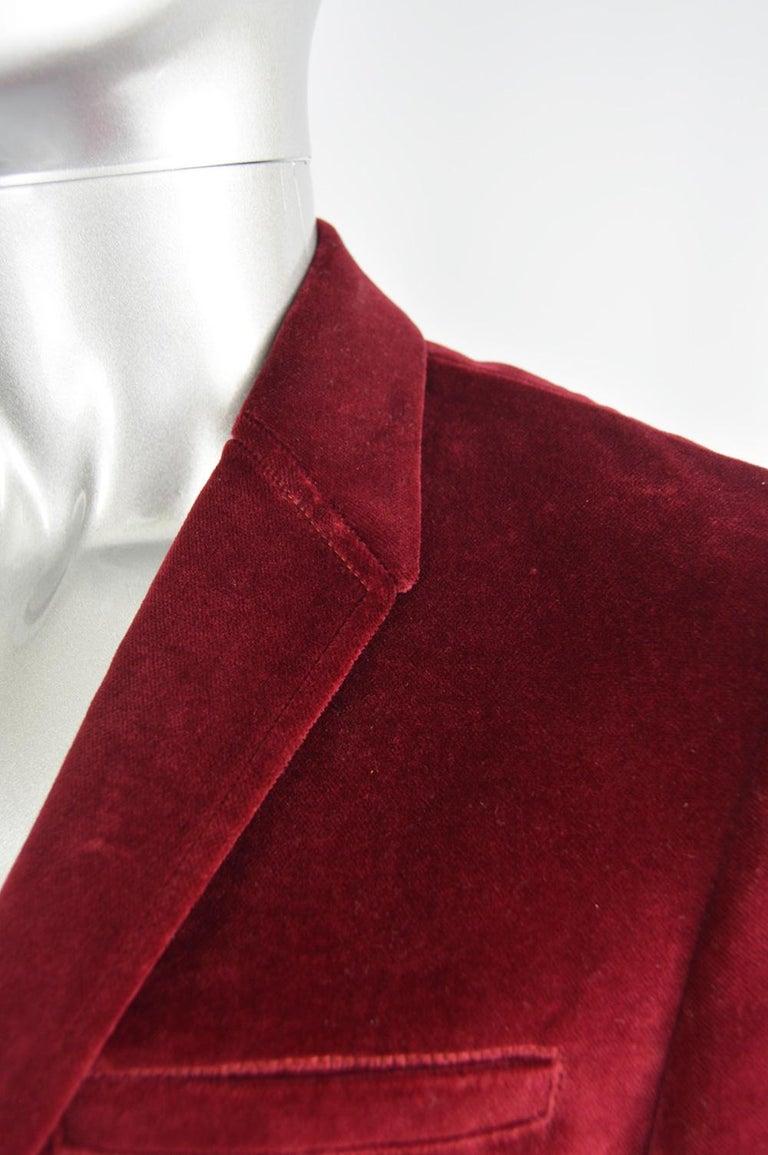 Thierry Mugler Men's Vintage Deep Red Velvet Blazer Dinner Jacket, 1990s In Excellent Condition For Sale In Doncaster, South Yorkshire