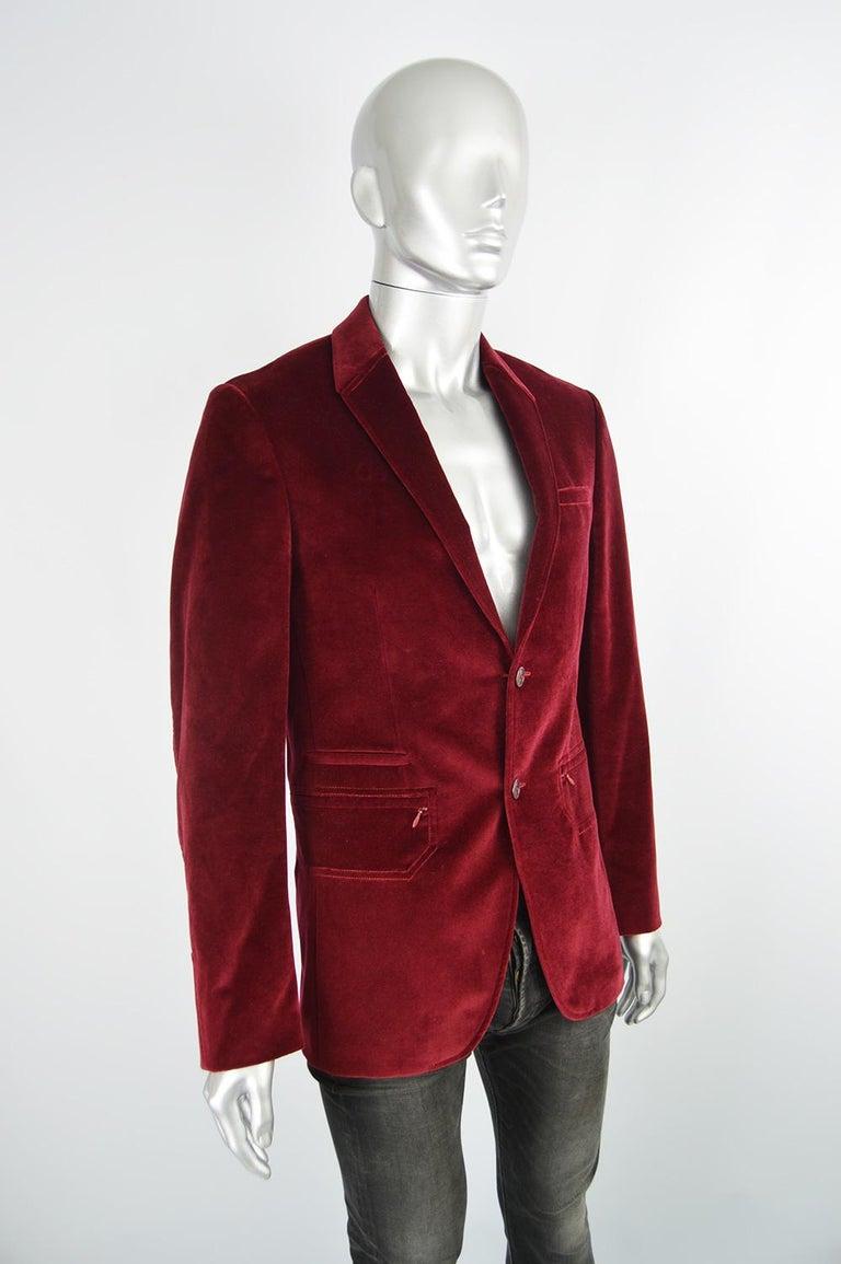 Thierry Mugler Men's Vintage Deep Red Velvet Blazer Dinner Jacket, 1990s For Sale 1