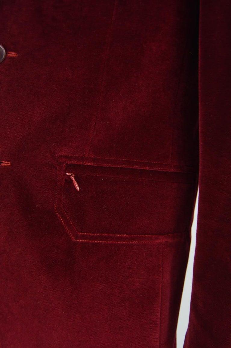 Thierry Mugler Men's Vintage Deep Red Velvet Blazer Dinner Jacket, 1990s For Sale 2