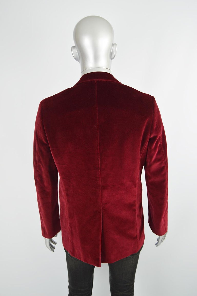 Thierry Mugler Men's Vintage Deep Red Velvet Blazer Dinner Jacket, 1990s For Sale 3