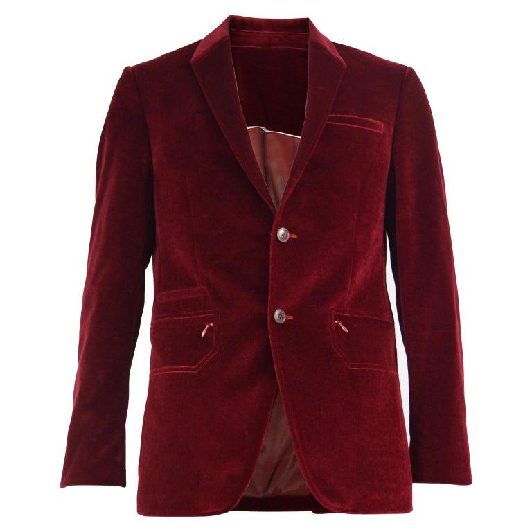 Thierry Mugler Men's Vintage Deep Red Velvet Blazer Dinner Jacket, 1990s For Sale