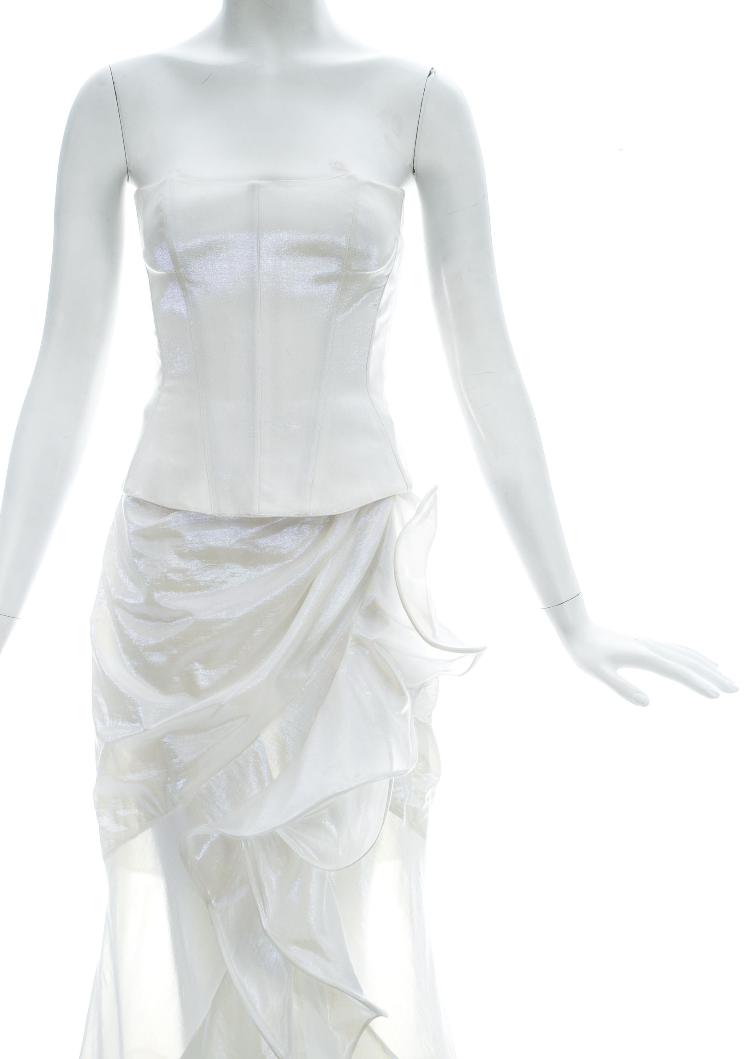 c82809631aa Thierry Mugler metallic pearl white corset and ruffled skirt ensemble