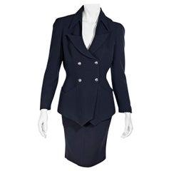 Thierry Mugler Navy Blue Wool Skirt Set