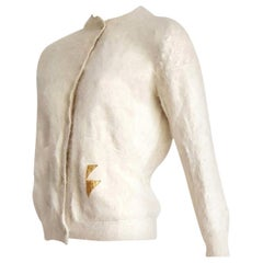 "Thierry MUGLER ""New"" Angora Cream Golden Buttons Sweater - Unworn"