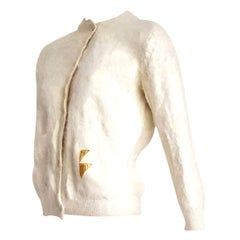 "Thierry MUGLER ""New"" Angora Cream Golden Buttons Sweater - Unworn"