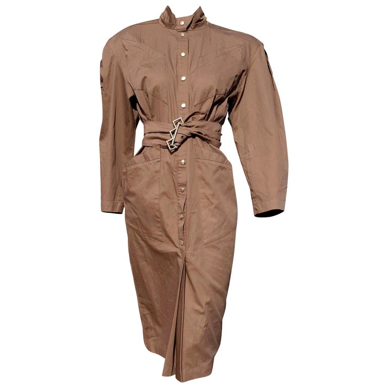 """Thierry MUGLER """"New"""" Brown with Belt Cotton Poplin - Unworn For Sale"""