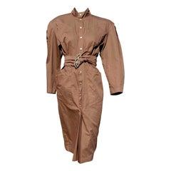 """Thierry MUGLER """"New"""" Brown with Belt Cotton Poplin - Unworn"""