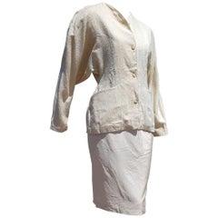 "Thierry MUGLER ""New"" Couture Shantung and Crude Silk Cream Skirt Suit - Unworn"