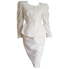"""Thierry MUGLER """"New"""" Piquet Fabric Bow on Back Skirt Suit - Unworn"""