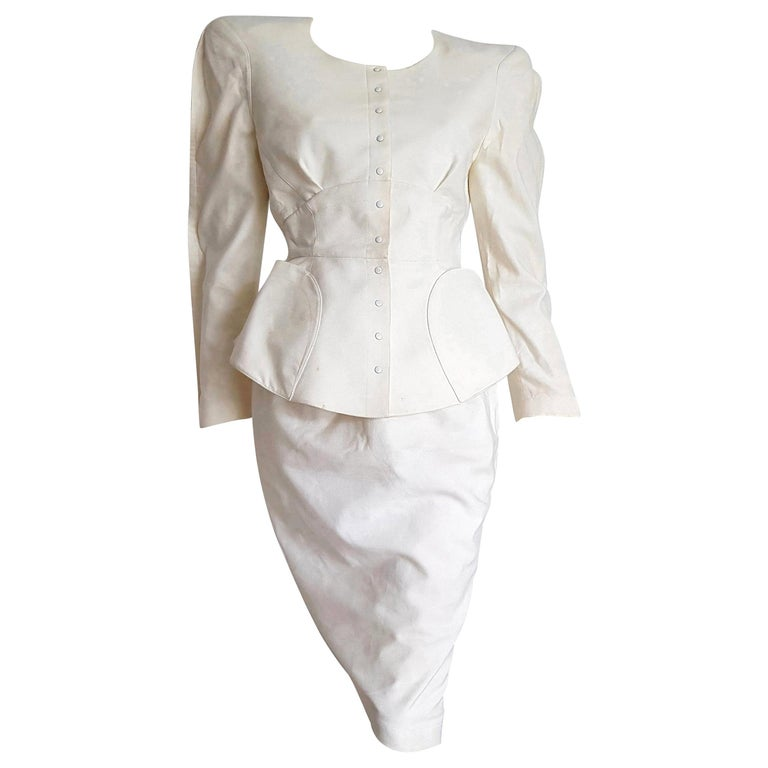 """Thierry MUGLER """"New"""" Piquet Fabric Bow on Back Skirt Suit - Unworn For Sale"""