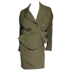 Thierry Mugler Olive Skirt Suit