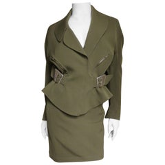 Thierry Mugler Olive Skirt Suit with Buckles