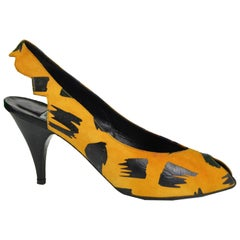 Thierry Mugler Orange and Black Suede Slingback Peep Toe Vintage Heels, 1980s