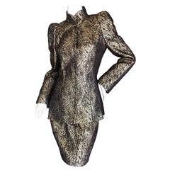 Thierry Mugler Paris 1980's Structured Golden Brocade Skirt Suit