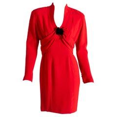 Thierry Mugler Paris Vintage 80s Red Cocktail Dress