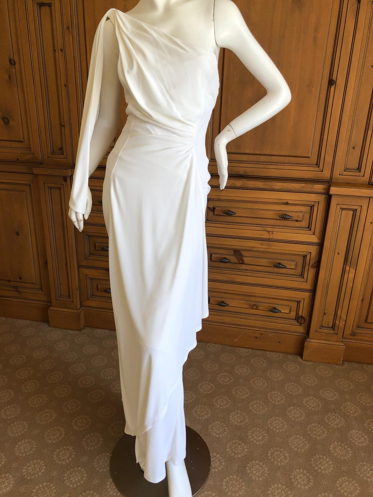 Thierry Mugler Paris Vintage Eighties Ivory White One Shoulder Goddess Dress. So beautiful. Size 38 Bust 36