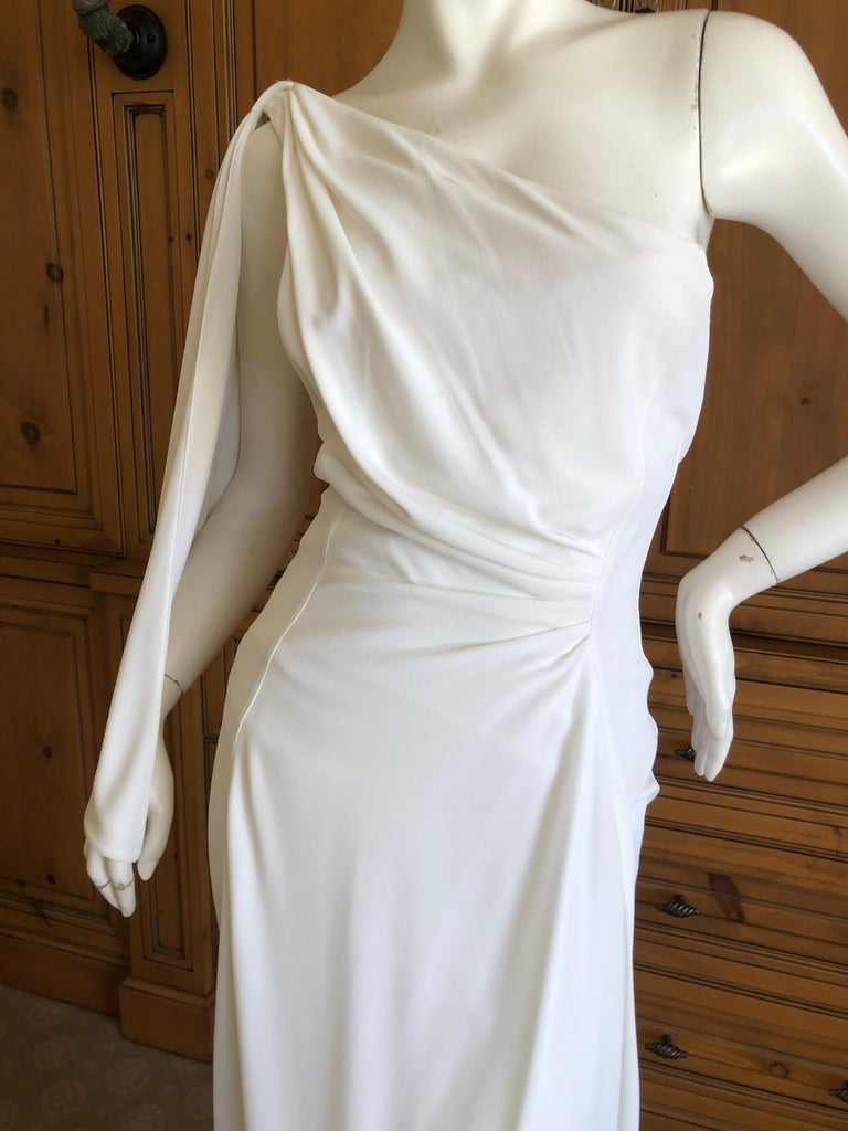 Thierry Mugler Paris Vintage Eighties Ivory White One Shoulder Goddess Dress In Good Condition In San Francisco, CA