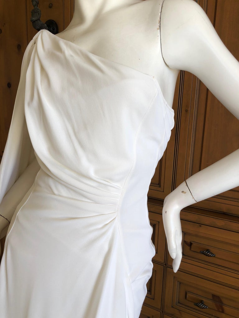 Women's Thierry Mugler Paris Vintage Eighties Ivory White One Shoulder Goddess Dress