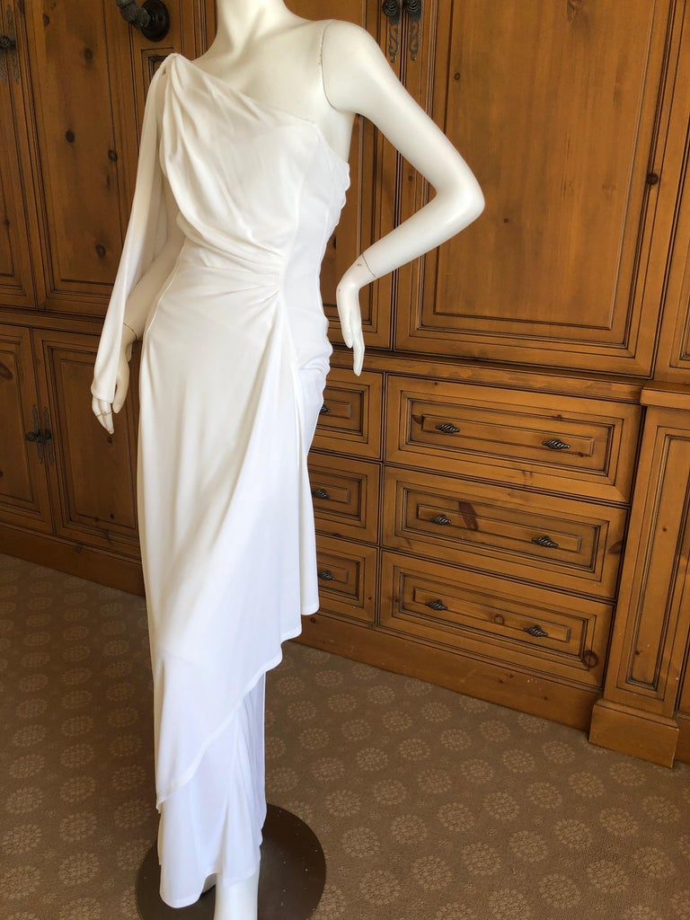 Thierry Mugler Paris Vintage Eighties Ivory White One Shoulder Goddess Dress 1