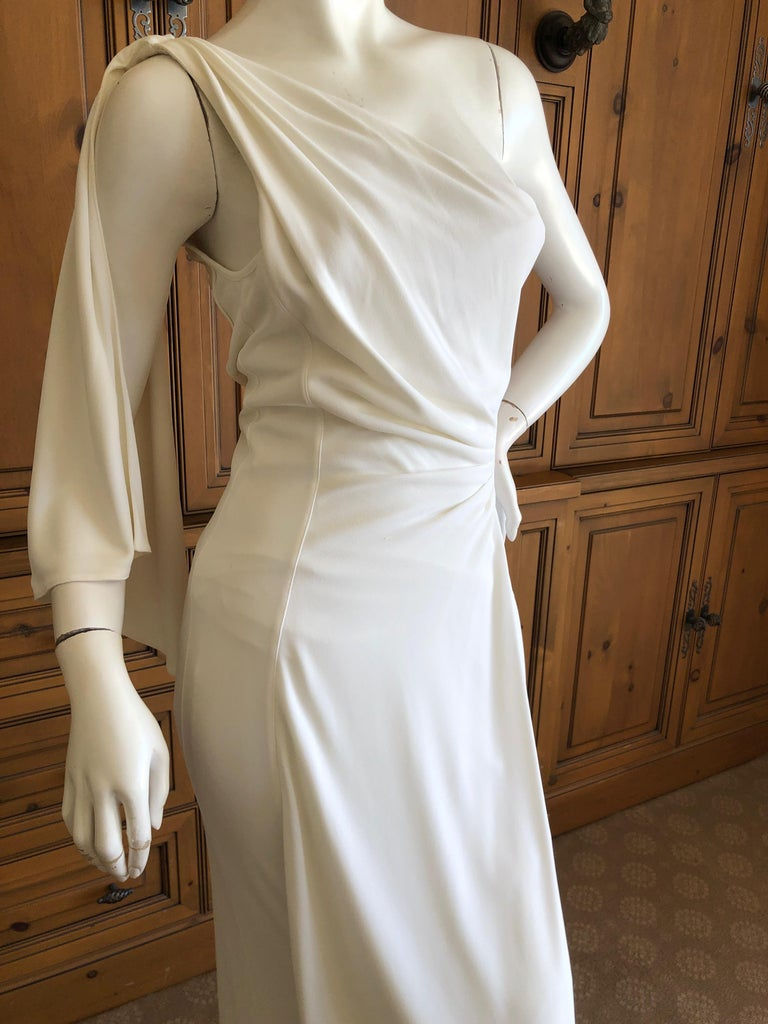 Thierry Mugler Paris Vintage Eighties Ivory White One Shoulder Goddess Dress 2