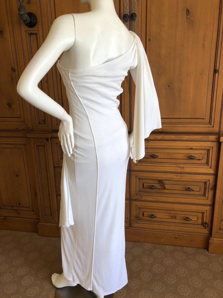 Thierry Mugler Paris Vintage Eighties Ivory White One Shoulder Goddess Dress 3