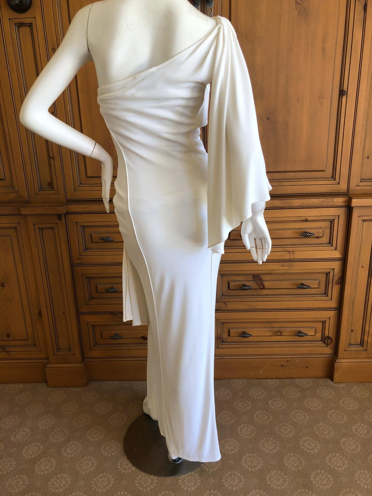 Thierry Mugler Paris Vintage Eighties Ivory White One Shoulder Goddess Dress 4