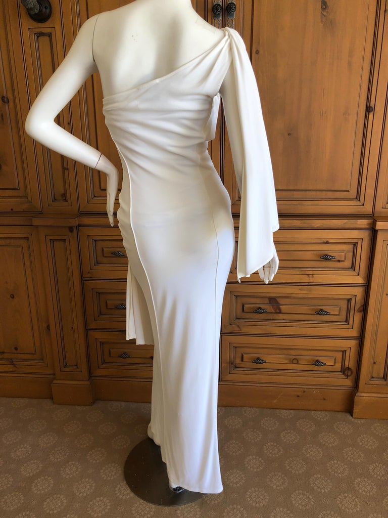 Thierry Mugler Paris Vintage Eighties Ivory White One Shoulder Goddess Dress 5