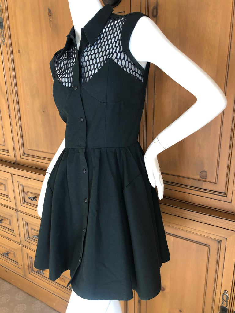 Thierry Mugler Paris Vintage Snap Front Black Cotton Cocktail Dress with Sheer Netting at Shoulders  Size 38  Bust 36