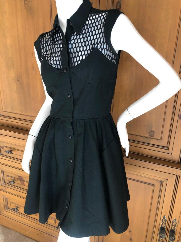 Thierry Mugler Paris Vintage Snap Front Black Cotton Net Shoulder Cocktail Dress In Excellent Condition For Sale In San Francisco, CA