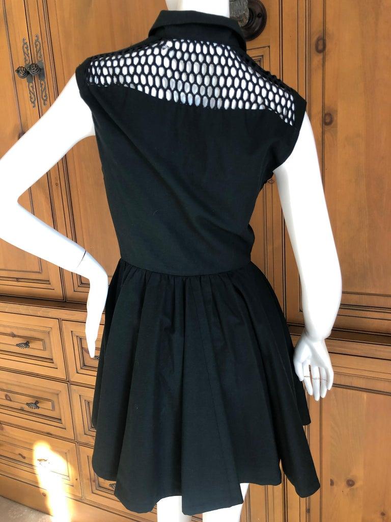 Thierry Mugler Paris Vintage Snap Front Black Cotton Net Shoulder Cocktail Dress For Sale 2