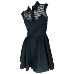 Thierry Mugler Paris Vintage Snap Front Black Cotton Net Shoulder Cocktail Dress