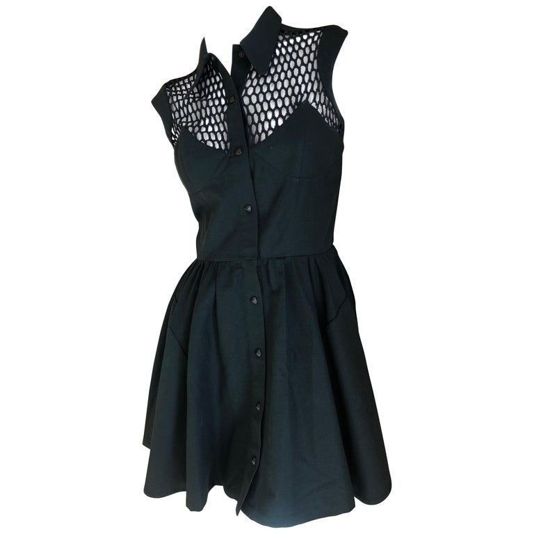 Thierry Mugler Paris Vintage Snap Front Black Cotton Net Shoulder Cocktail Dress For Sale