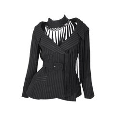Thierry Mugler pinstripe jacket with asymmetric silk tassle shawl