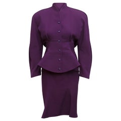 Thierry Mugler Purple 1980s Wool Skirt Suit Set