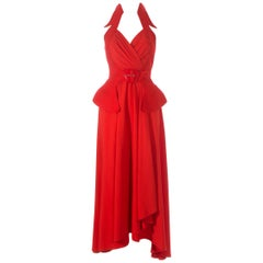 Thierry Mugler red crepe halter-neck wrap dress, ss 1992