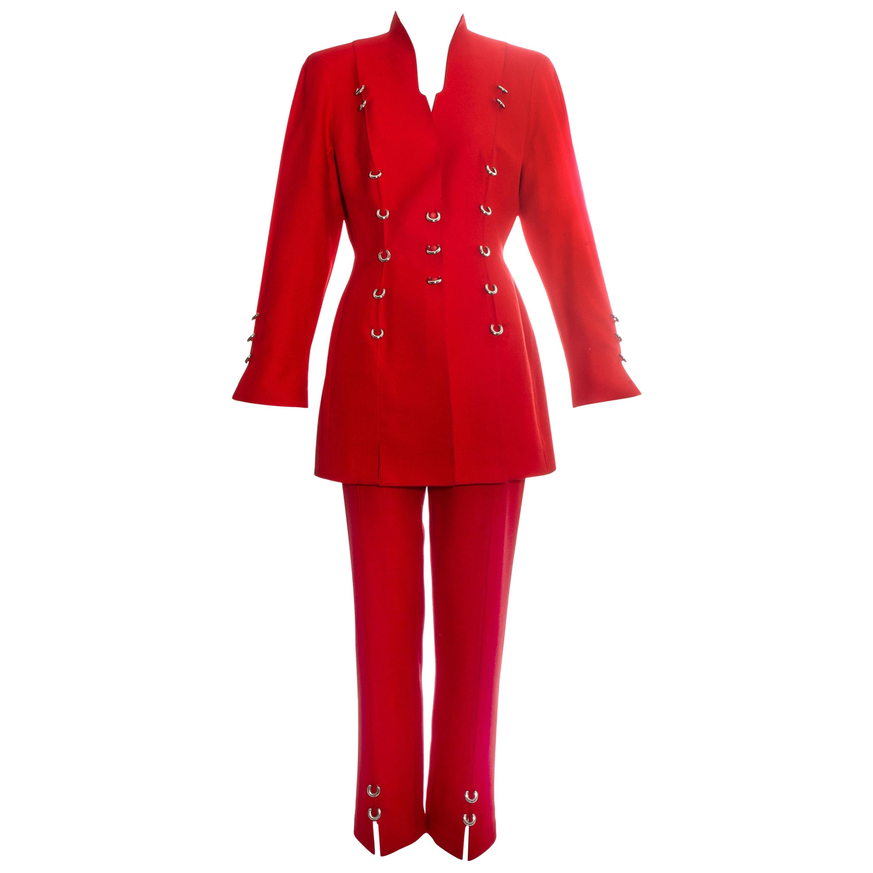 Thierry Mugler red pant suit with silver metal rings, c. 1990s