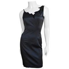 Thierry Mugler Silk Dress with Asymmetric Neckline