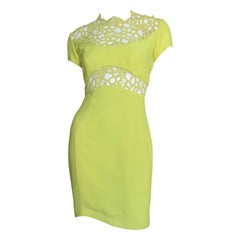 Thierry Mugler Silk Lace Inset Dress
