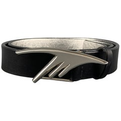 THIERRY MUGLER Size 32 Black Leather SIver Tone M BuckleBelt