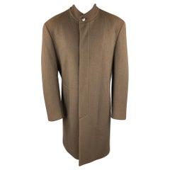 THIERRY MUGLER Size 40 Brown Wool High Collar Hidden Placket Coat