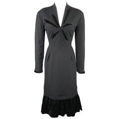 THIERRY MUGLER Size 6 Black Velvet Accent V Neck Long Sleeve Dress