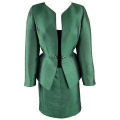 THIERRY MUGLER Size 8 Green Satin Velvet Panel Embellished Peplum Skirt Suit