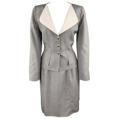 THIERRY MUGLER Size 8 Grey Wool Blend Skirt Set