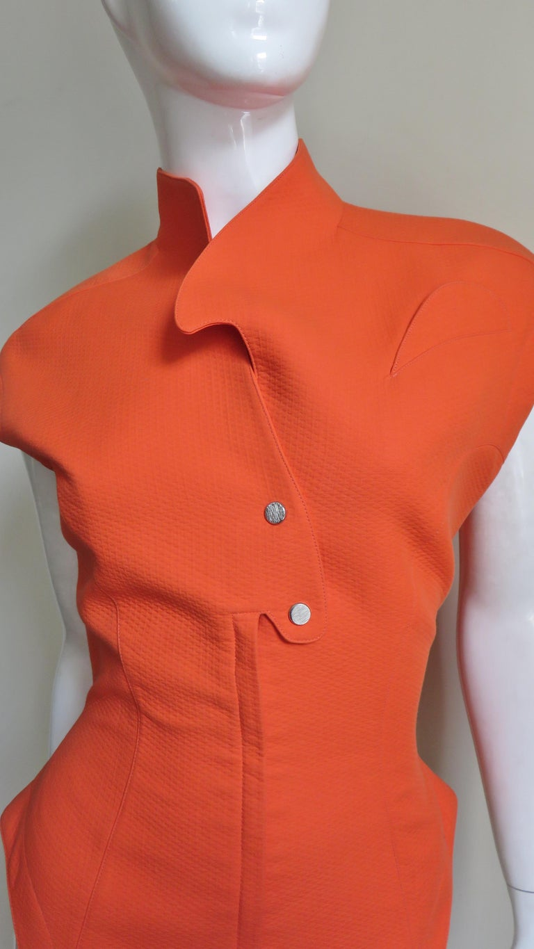 Red Thierry Mugler Space Age Jacket Top For Sale