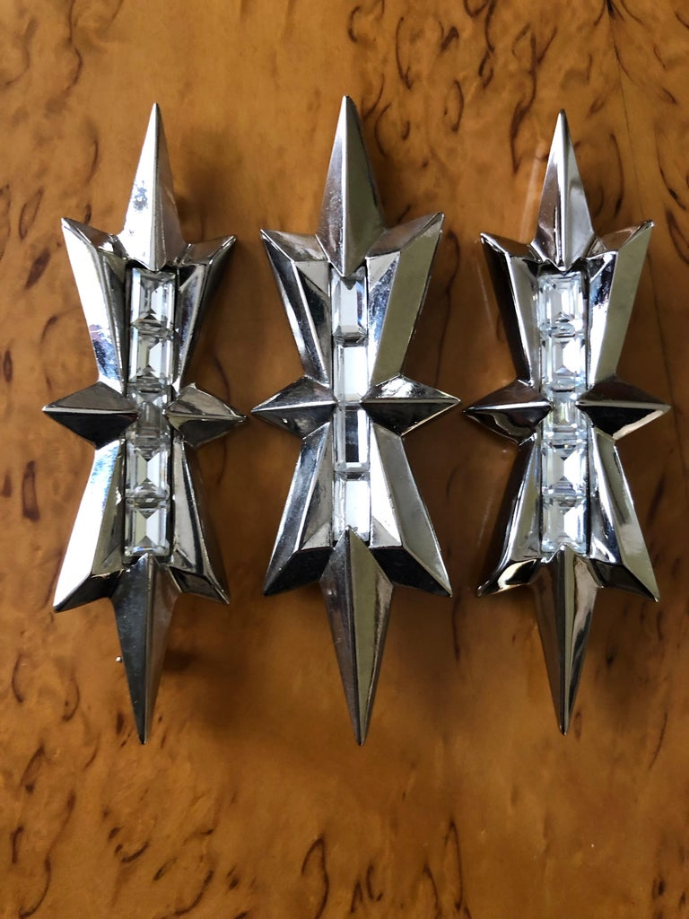 Thierry Mugler Vintage Three SIlver Alien Star Pins w Baguette Crystal Accents. 3