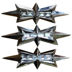 Thierry Mugler Three Vintage SIlver Alien Star Pins w Baguette Crystal Accents