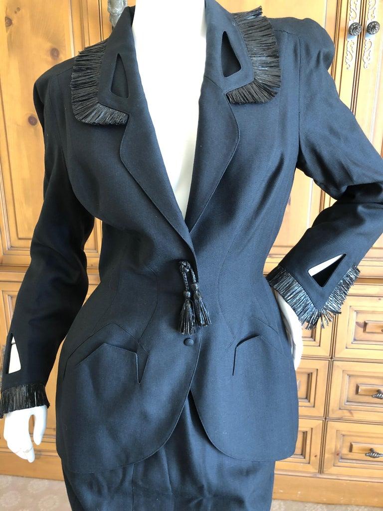 Purple Thierry Mugler Vintage 1980's Black Suit with Raffia Fringe Tassel and Trim  For Sale