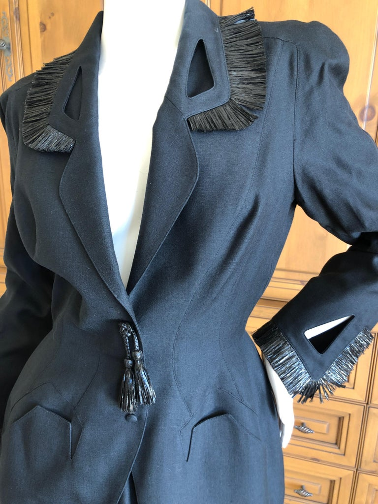 Thierry Mugler Vintage 1980's Black Suit with Raffia Fringe Tassel and Trim  In Excellent Condition For Sale In San Francisco, CA