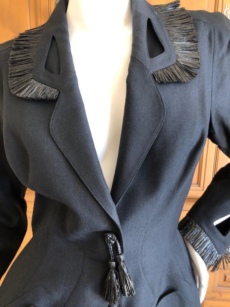 Women's Thierry Mugler Vintage 1980's Black Suit with Raffia Fringe Tassel and Trim  For Sale