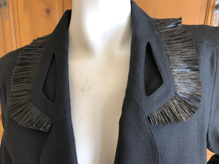 Thierry Mugler Vintage 1980's Black Suit with Raffia Fringe Tassel and Trim  For Sale 1